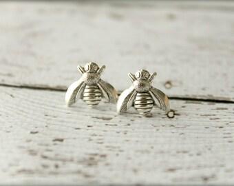 Bee Earrings in Antiqued Silver