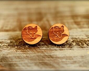 Fox Studs, Laser Cut Wood Earrings