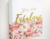 Fabulous, Floral Canvas Art, Flower Canvas Art, Pink Canvas Art,Gold Canvas Art, Gifts For Girls, Modern Canvas Art, Pink Gold Art, Wall Art