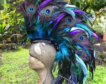 "Feather Mohawk Headdress  - ""Anemone"""