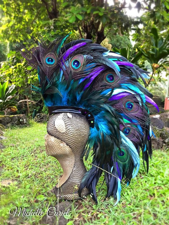 "Feather Mohawk Headdress  - ""Anemone"""
