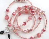 DUSTY ROSE- Beaded Eyeglass Chain- Tourmaline Gemstones, Glass Pearls and Sparkling Crystals