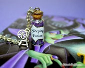 Sleeping Beauty Necklace Spinning Wheel Charm, Sleeping Potion Necklace, Evil Fairy Maleficent, Once Upon a Time, True Love, Aurora Necklace