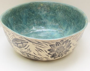 large ceramic serving bowl; hand built pottery; ceramics and pottery