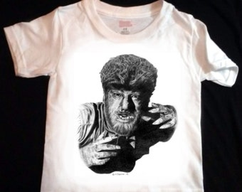 The Wolf Man Toddler / Youth T Shirt - LARGE print - Original Graphite Portrait