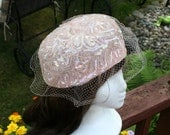 Pink Sequin Pill Box Hat 1950s