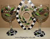 All about olives wine glasses and caddy.(ready to ship)