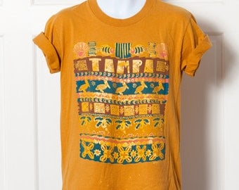 Vintage 90s TAMPA Tshirt - gold pelicans palm trees - M