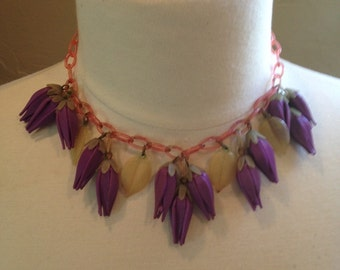 Celluloid Necklace Stunning Color Detail