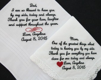Embroidered Wedding Handkerchiefs for the Mother of the Bride and Father of the Bride