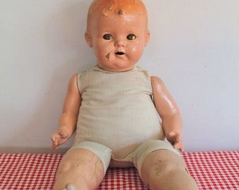 antique 1920s composition baby doll - SLEEPY EYE creepy doll