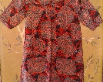80s Black, red and white batik Indonesian dress