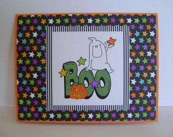 SALE - Boo*Ghost*Pumpkin*and Stars Halloween note card