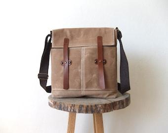 Beige Waxed Canvas Messenger Bag - Leather Closures - Brown Adjustable Cotton Strap - Everyday Shoulder Bag - Waterproof - Handbag