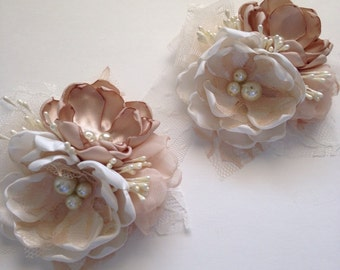 Pin Corsage - Cream and Champagne Corsage Pin - Fabric Wedding Flowers, Mother of the Bride, Mother of the Groom, Grandma, Bridesmaids