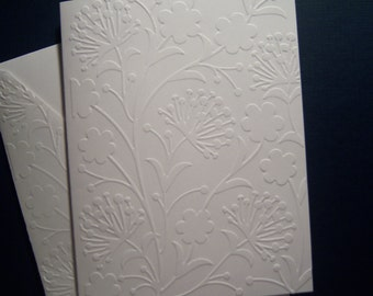 Set of Six Embossed Dandelions and Blossoms Notecards