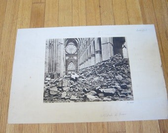 WW1 French Photographic Print of Cathedrale de Reims Ruins after the war ~ French Vintage Country Decorations, Unique Housewarming Gift Idea