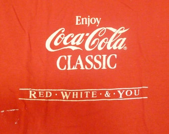 Vintage 80s Enjoy Coca Cola Classic Coke Red White and You T-Shirt