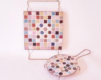 Midcentury Tiled Trivets Pot Holders Mosacis Tiles Kitchen Tiles Trivets Kitchen Decor Cottage Style Trivets Counter Savers