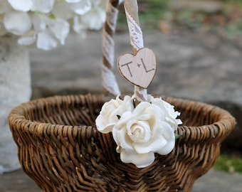 Rustic Flower Girl Basket Personalized  Paper Roses Rustic Shabby Chic Weddings