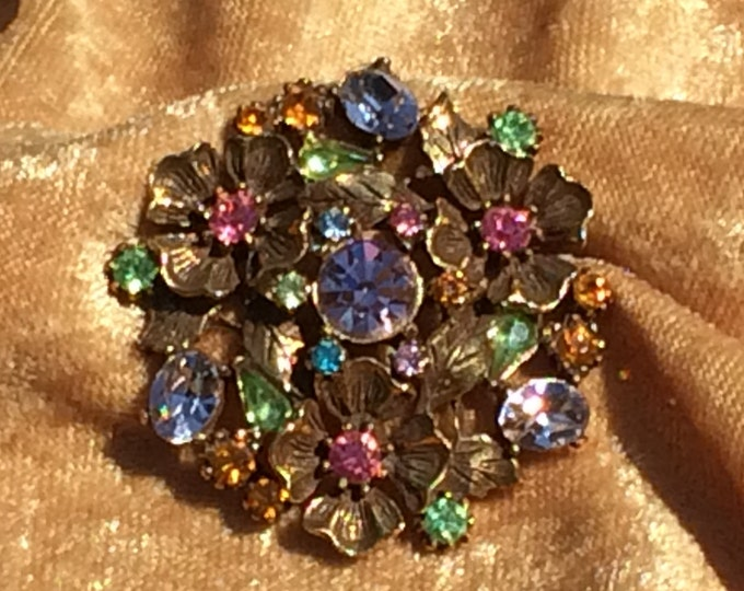 Featured listing image: Colorful Vintage Rhinestone Floral Pin 1960's Multicolor Sparkling Rhinestone Brooch Rhinestone Jewelry Gift for Her