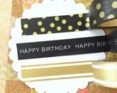 Washi Tape Set: Gold Happy Birthday