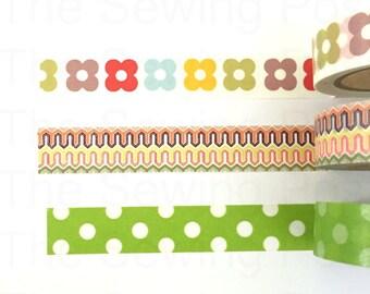 Washi Tape Set: Polka Dot Flowers