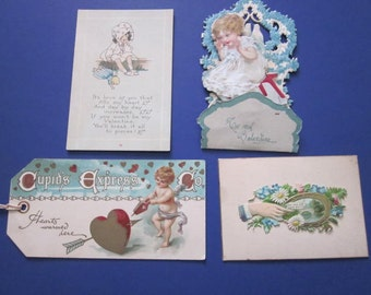 Four Antique Valentine Cards and Calling Card Victorian
