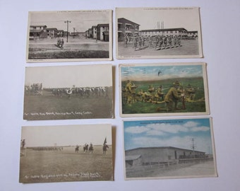 Six Vintage Military Camp Custer Battle Creek Michigan Post Cards 1910s