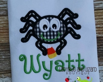 Boy's Halloween Spider with Candy Corn Short Sleeve or Long Sleeve Top with Monogram Sizes 12M-18M, 2T-5T, 6