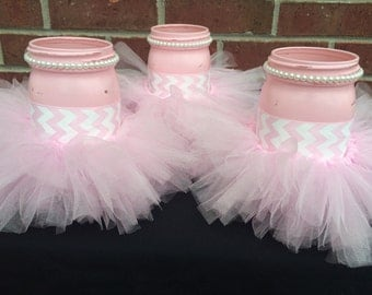Itu0027s A GIRL Baby Shower Centerpiece~Set Of 3 Pink Mason Jars~Pink Tutu