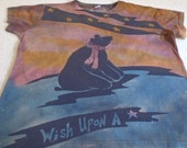 Wish upon a Star, bear gazing into the night time sky, woman's XL discharged and dyed t-shirt, later asleep in the tent, pink, orange, blue