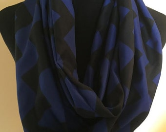 New Long Chevron Blue and Black Infinity Scarf