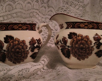 Vintage Myott Meakin Dragon of Kowloon cream and sugar