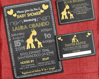 Giraffe  Baby Shower Set -Invite + Diaper Raffle Ticket + Book Request  - Chalkboard Style - I design you print