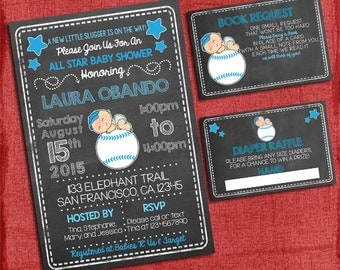 Baseball Boy Theme Coed Couples Baby Shower Set -Invite + Diaper Raffle Ticket + Book Request  - Chalkboard Style - I design you print