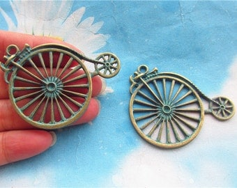 New arrival 10pc 55x38mm antiqued bronze Bike pendant findings