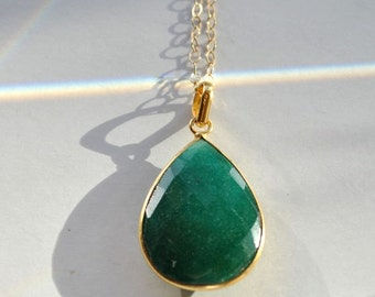 SALE Emerald Necklace - May Birthstone Emerald Jewelry