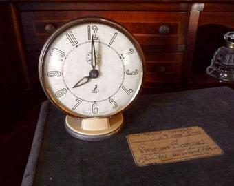 Vintage French Clock Jaz Wind Up Alarm Clock Retro Desk Clock Desk Accessory Industrial Decor Made in France