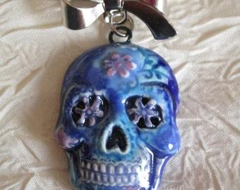 "Broche métal argenté et céramique ""Skull el Dia de los Muertos"""