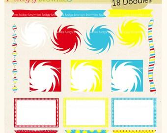 ON SALE bright colour digital scrapbooking frames, tag clip art, Dr Seuss frame clip art, A-188