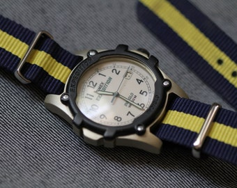 Vintage Mens  Timex with blue and yellow strap