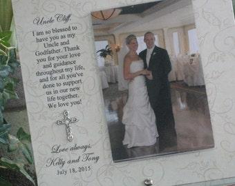 GODFATHER WEDDING GIFT, Godfather wedding frame, Godfather wedding picture frame, Personalized, 4 x 6 photo, Saying Choice, Cross or Heart