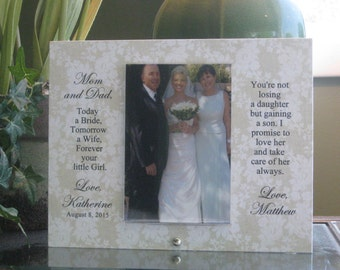 Parents Gift,  Parents Frame, Parents of Bride Frame, Parents of Bride Gift, Parents of Bride Wedding Frame, Saying Choice, Heart w/ crystal