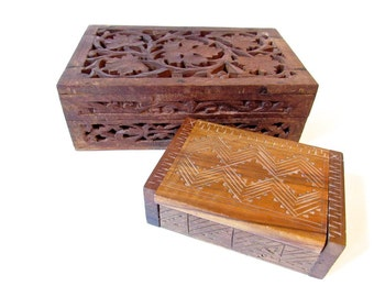 Vintage Handcarved Wooden Boxes - Cigarette Box - Boho Hippie - Set of Two Storage Boxes - Hinged Lid - Desk Accessory
