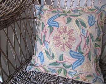 "Vintage Boho Chic Pillow Cover - 16"" x 16"" - Throw Pillow Cover - Boho - Hippie - Woven Abstract Floral Design - Pillow Sham"