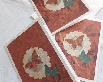 Autumn Colors Butterfly Cards, Thank You Cards, Set of 3