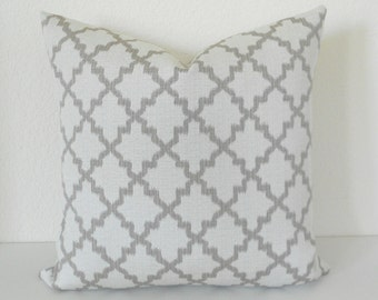 Double sided,  Modern light taupe gray small scale ikat quatrefoil decorative pillow cover