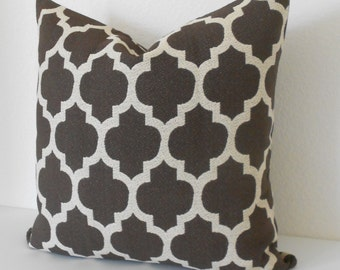 Brown and beige moroccan quatrefoil decorative throw pillow cover