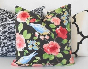 Black Multicolor Floral Bird Decorative Pillow Cover